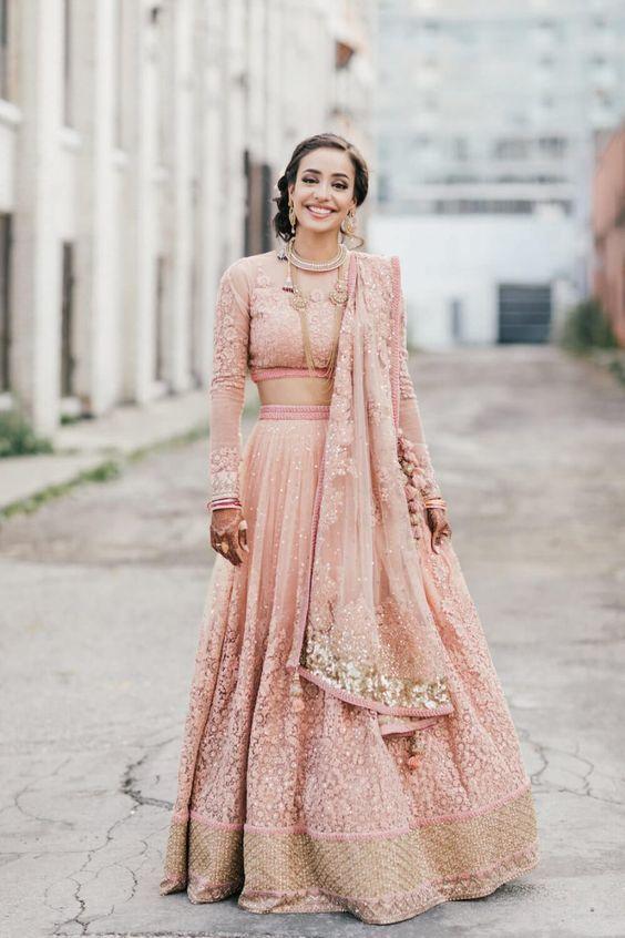 Golden Pink Long Sleeve Bridal Lehenga | niyati wedding related ...