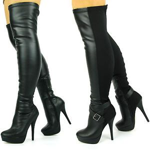 Details about WOMENS STILLETO OVER THE KNEE STRETCH WIDE FIT BLACK ...