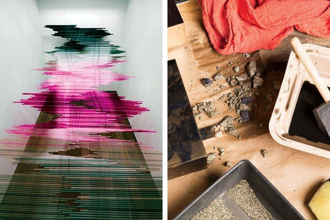 Fire (2005), a sculpture of silk yarn on a steel armature (left). Pyrite and India ink are among her materials (right). Photos, from left: Courtesy of Teresita Fernández and Lehmann Maupin, New York and Hong Kong