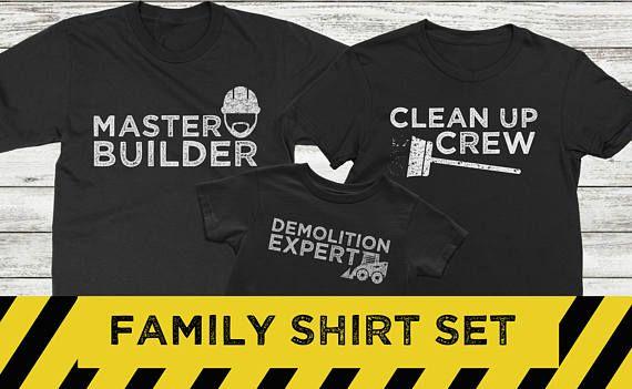 7206fa43de0de Father Son matching shirts Master Builder and Demolition Expert ...