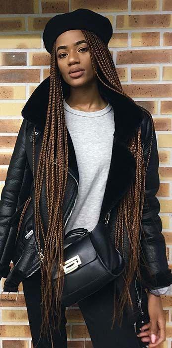 23 Best Long Box Braids Hairstyles and Ideas #longboxbraids
