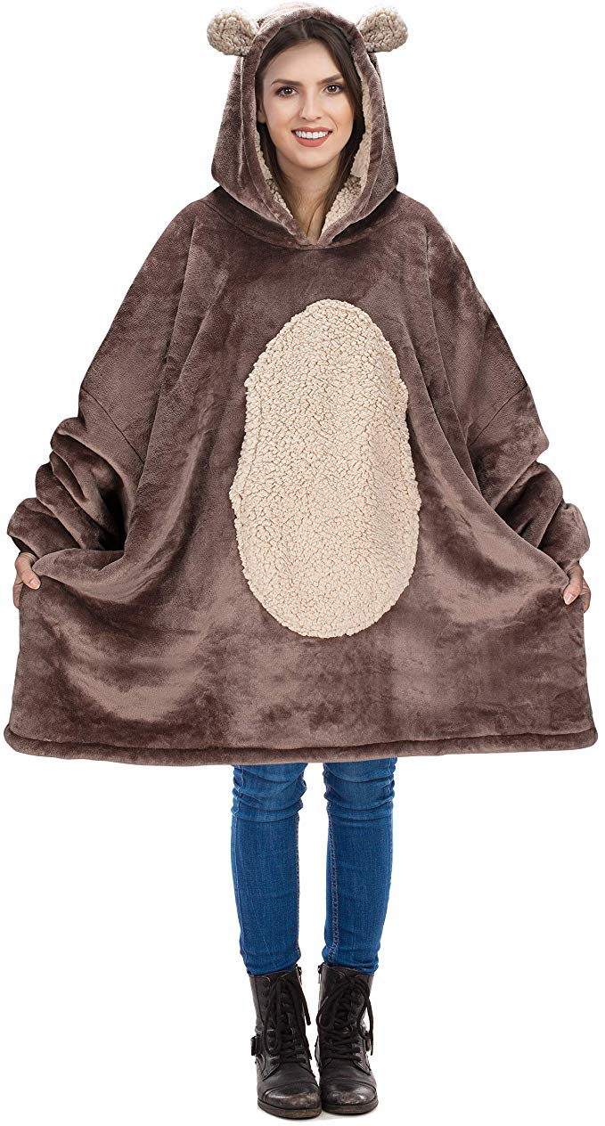 Kid Boy Girl Sweatshirt Print Hoodie Plush Blanket Soft Winter Coat Pullover