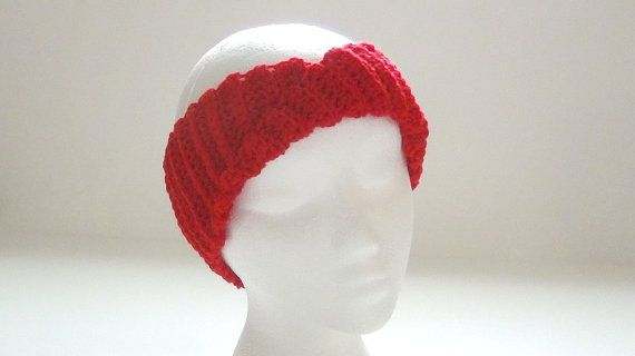 Crochet Headband  Vibrant Red Headband  Ear by MainelyHandcrafts