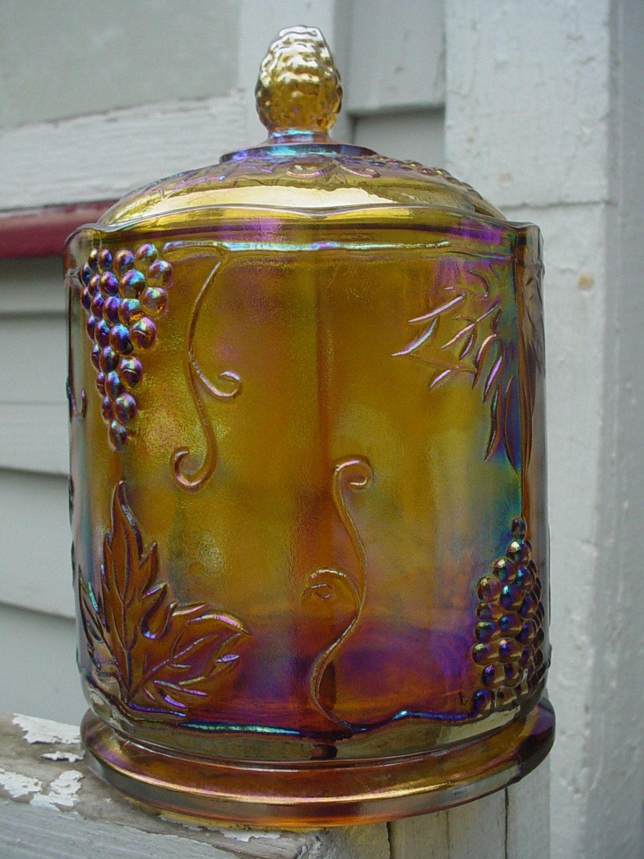Carnival Glass Vintage Biscuit Jar Color Changing Amber   Etsy ...