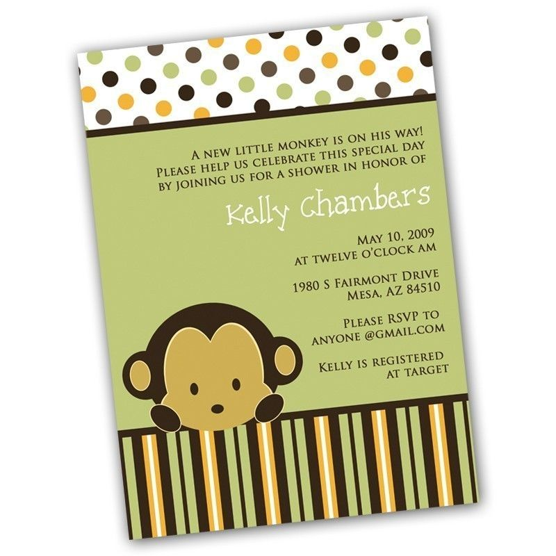 monkey invitations | boo Monkey Baby Shower Invitation- Made to ...