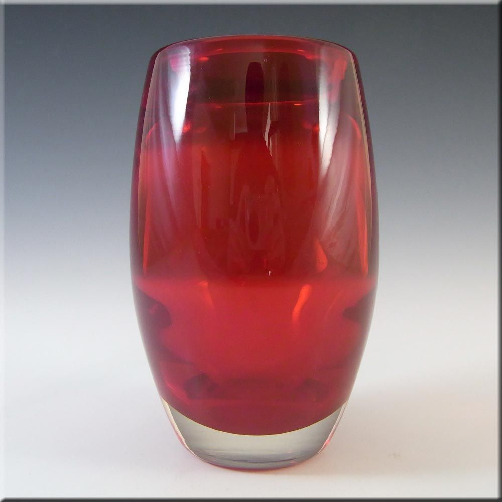 Whitefriars Baxter Vintage Ruby Red Glass Ovoid Vase 9587 Red Glass Glass Glass Texture
