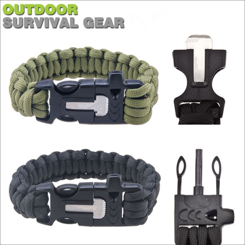 Multi-functional Paracord Survival Bracelet with Whistle and Fire Starter