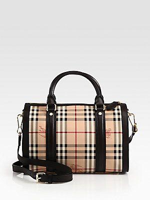 dc5555a61d70 Burberry Alchester Mixed-Media Haymarket Bowling Bag