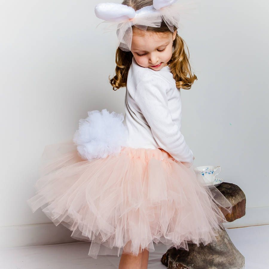 560dde66eda5 Bunny Rabbit Tutu. A gorgeous nude tutu embellished with a tulle pompom  bunny tail and gold satin bow. Peach And White Tulu Dress ...