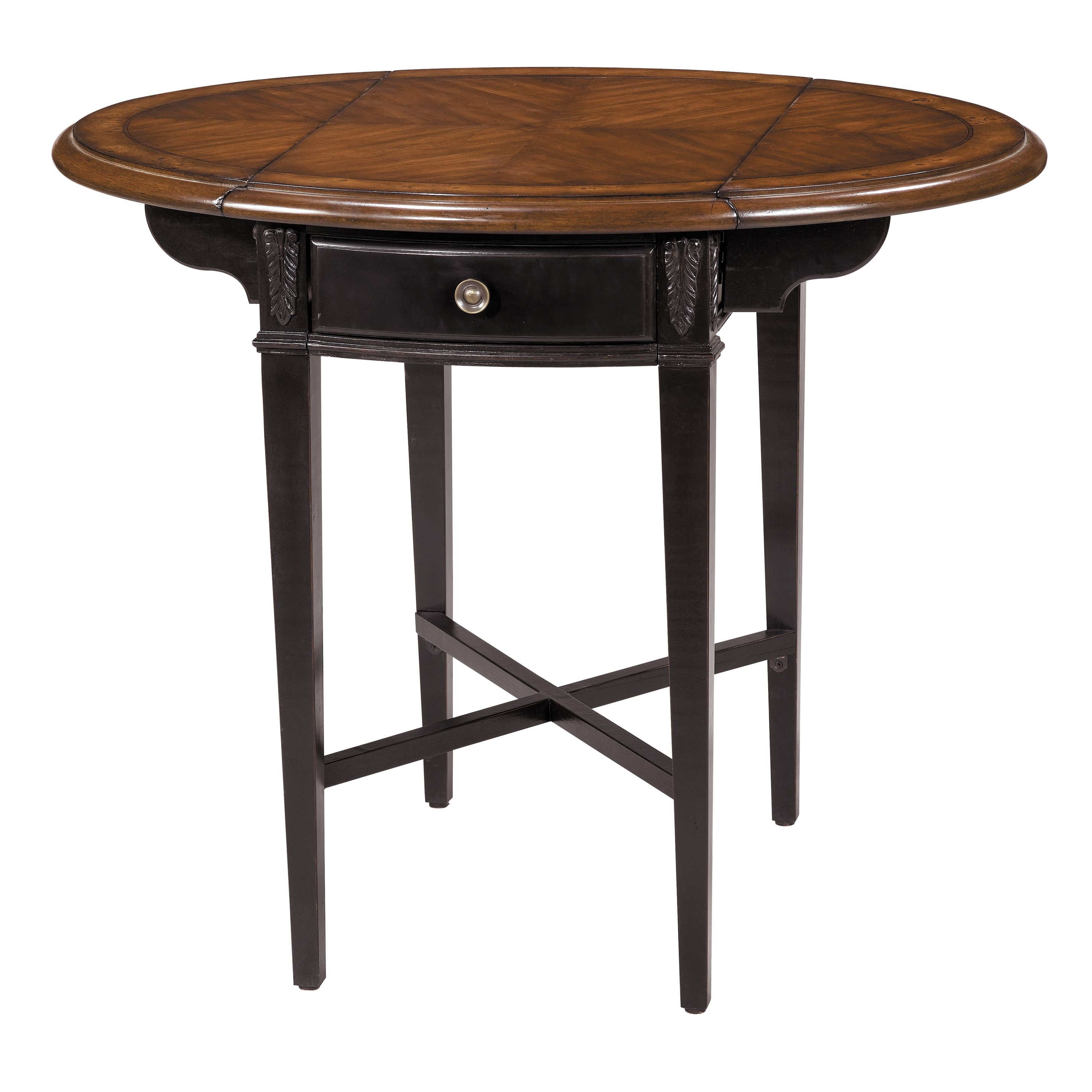 Drop Leaf Accent Table With One Drawer And A Burl Top. Product: Accent Table  Construction Material: MDF Color: Black And Medium Brown Features: Burl And  ...