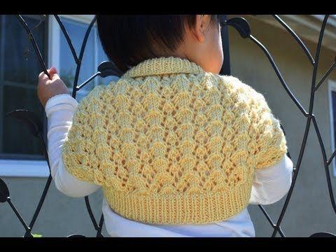 ▶ How to Knit an Easy and Lacy Baby Bolero (Shrug) - YouTube