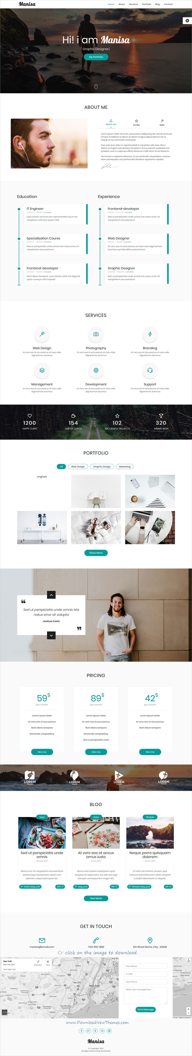 Manisa - Personal One Page Template | Template