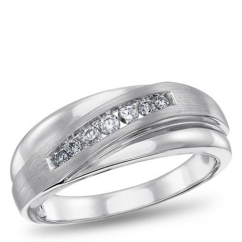 10K White Gold, Diamond ring for him, 1/4 ctw. $614.88 (save $1,584.12)