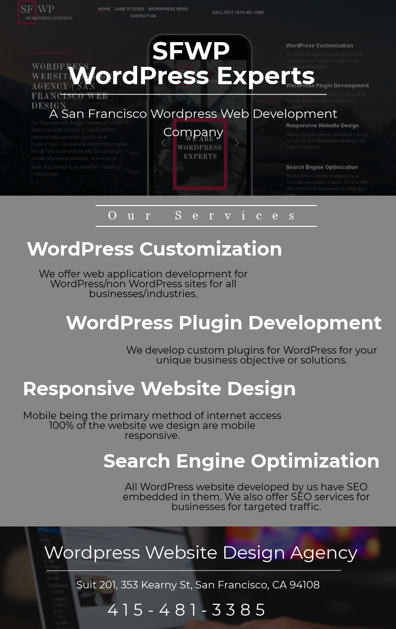 Sfwp Wordpress Experts A Wordpress Website Design Agency San Francisco Provide Complete Wordpress Website De Website Design Company Wordpress Website Design Web Design
