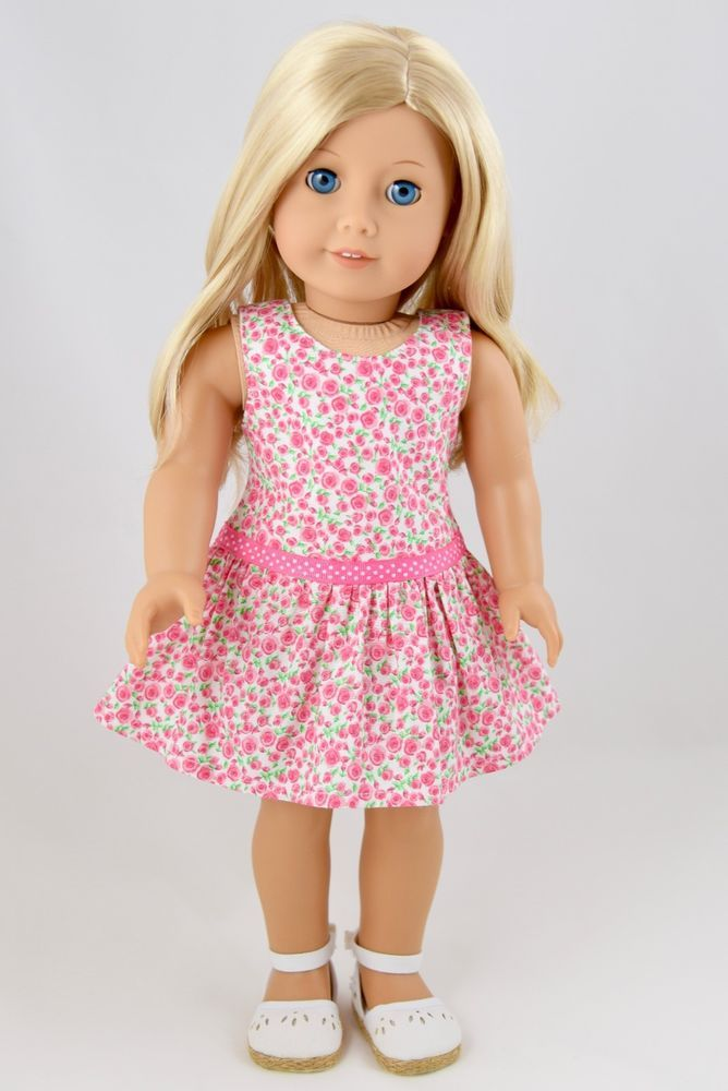 Spring Dress Pink Roses American Made Doll Clothes For 18 Inch Girl Dolls is part of Pink Clothes For Girls -