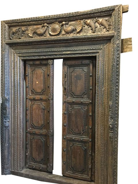 Double Door Frame Rustic Indian Peacock Hand Carved Antique Temple Door  Panel #antiquedoors #distressedteakdoors - Double Door Frame Rustic Indian Peacock Hand Carved Antique Temple
