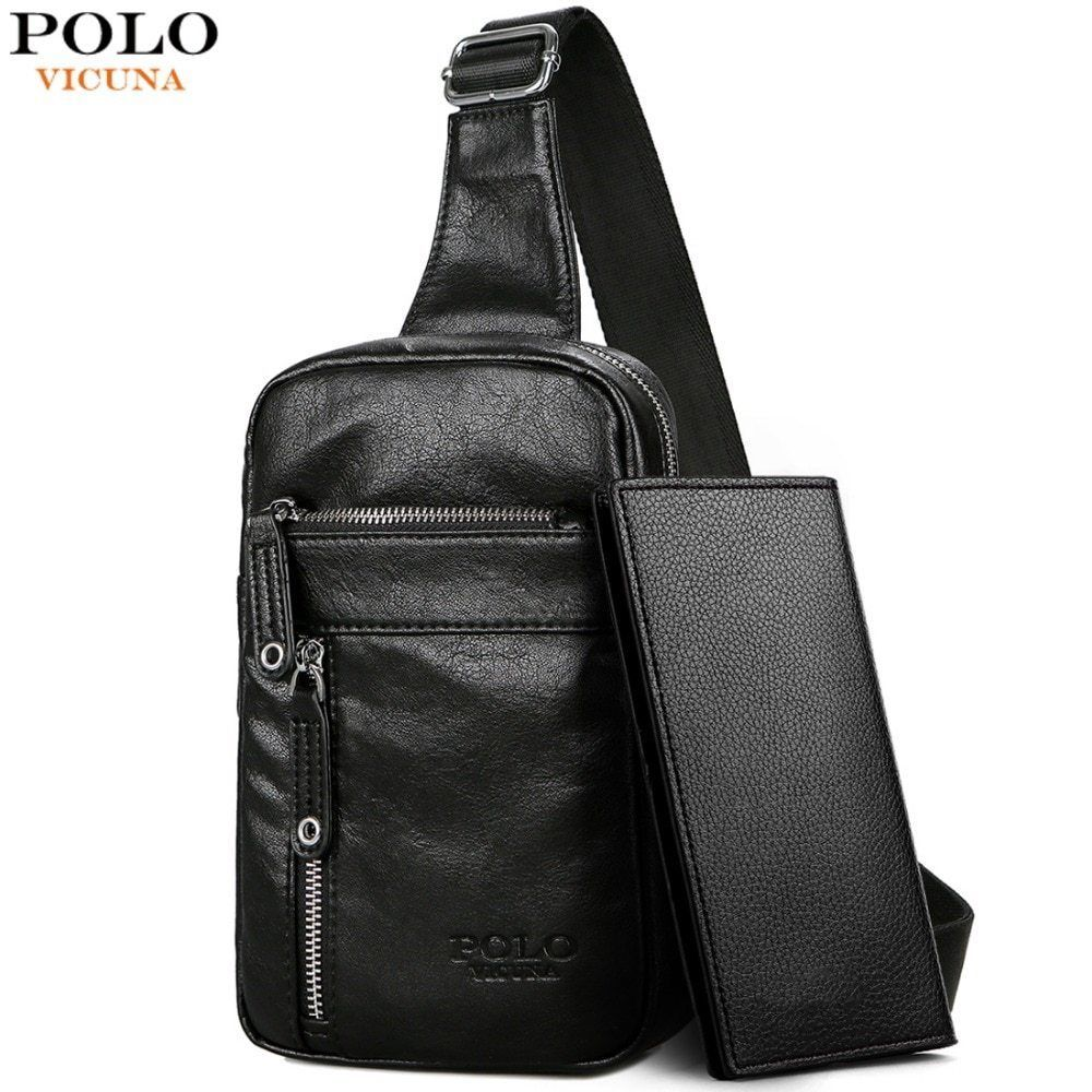 74b75ed6c932 POLO VICUNA Men Theft-proof Vintage Leather Sling Bag With Headphone Hole   fashion