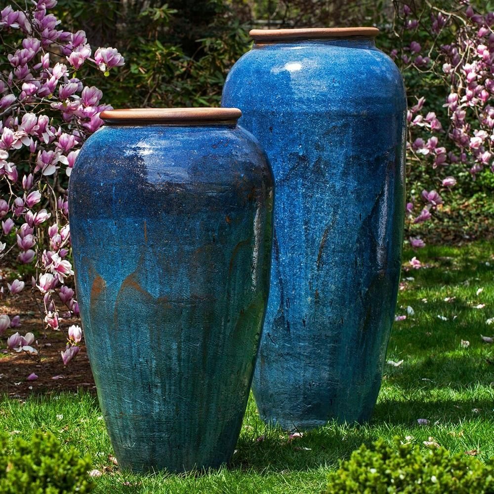 Extra Tall Glazed Terra Cotta Jar Planter With Rolled Edge Rustic Blue Planters Rustic Blue Campania International