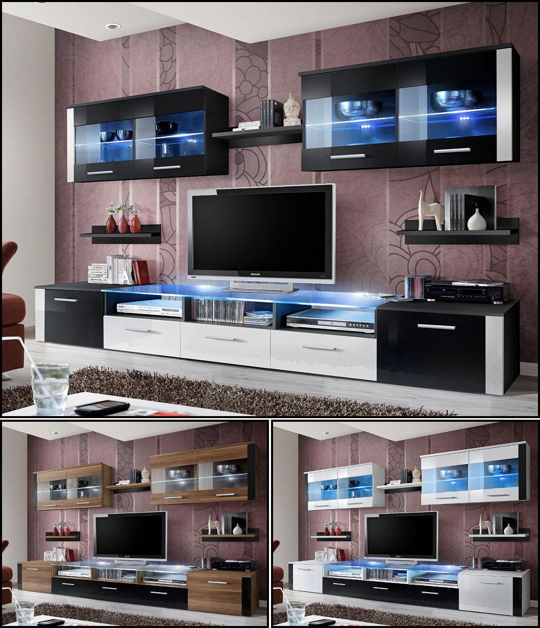 Anspruchsvoll Anbauwand Wohnzimmer Beste Wahl Offers Angebot Wohnwand Schrankwand Zoom Hochglanz Led