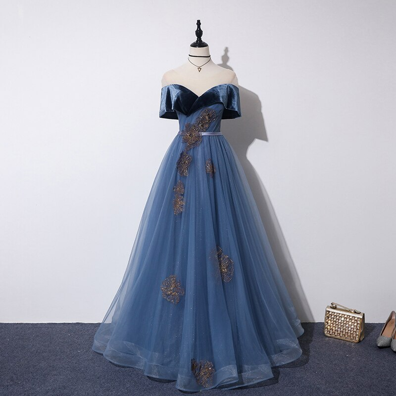 Photo of Fleepmart Blue Abendkleider 2020 Gold Lace Appliques Off Shoulder Velours Tüll Long A Line Schatz Prom Party Kleider Abendkleider