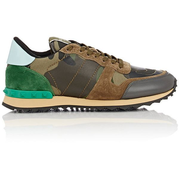 Valentino Men's Camouflage Rockrunner Sneakers ($845) ❤ liked on Polyvore featuring men's fashion, men's shoes, men's sneakers, green, mens leather shoes, mens green shoes, mens leather sneakers, men's low top sneakers and valentino mens shoes