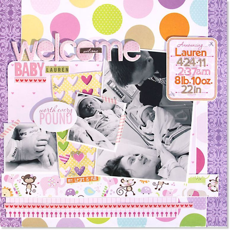 Featuring Bella Blvd's Baby Girl Collection. Welcome Baby Lauren Layout by Bella Blvd owner, Stephanie Hunt