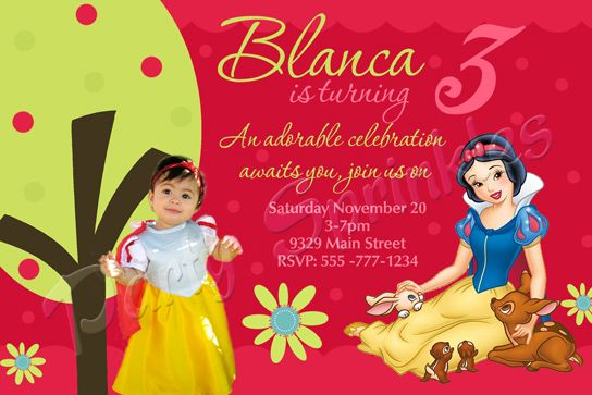 Snow white birhtday invitation thank you notes invitaciones de snow white birhtday invitation thank you notes invitaciones de blanca nieves stopboris Image collections