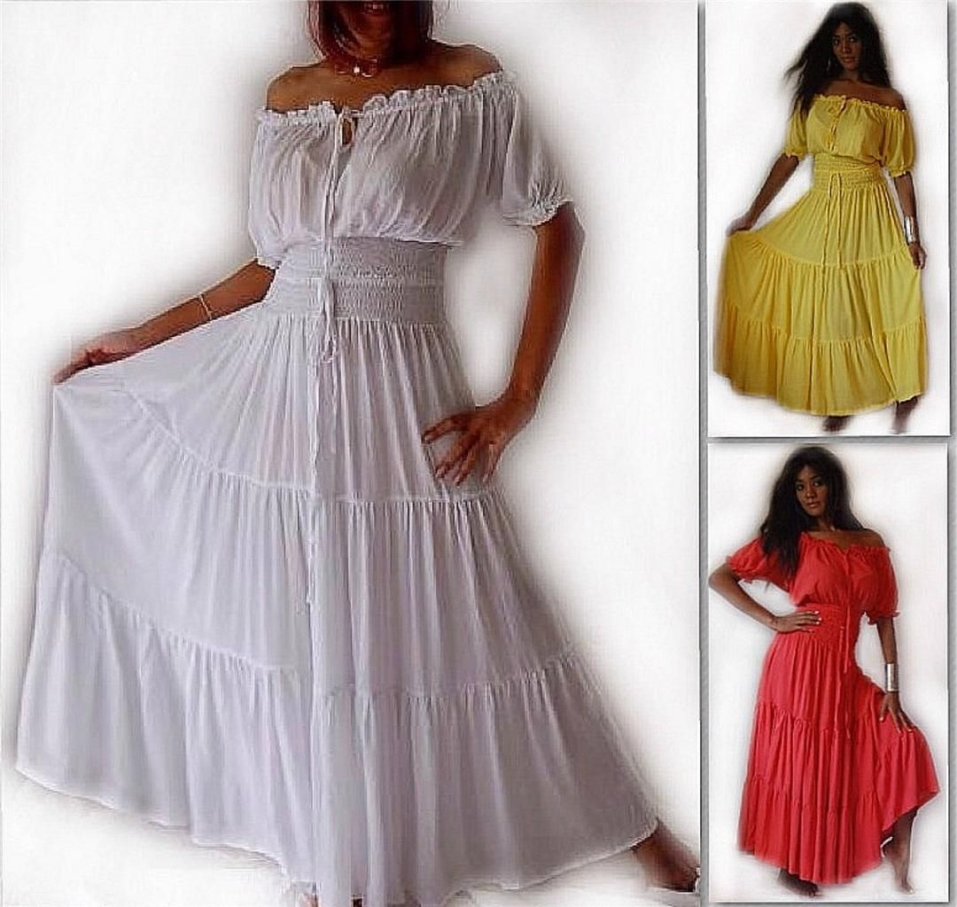 A763 MAXI PEASANT DRESS SMOCKED CORAL WHITE YELLOW LOTUSTRADERS ...