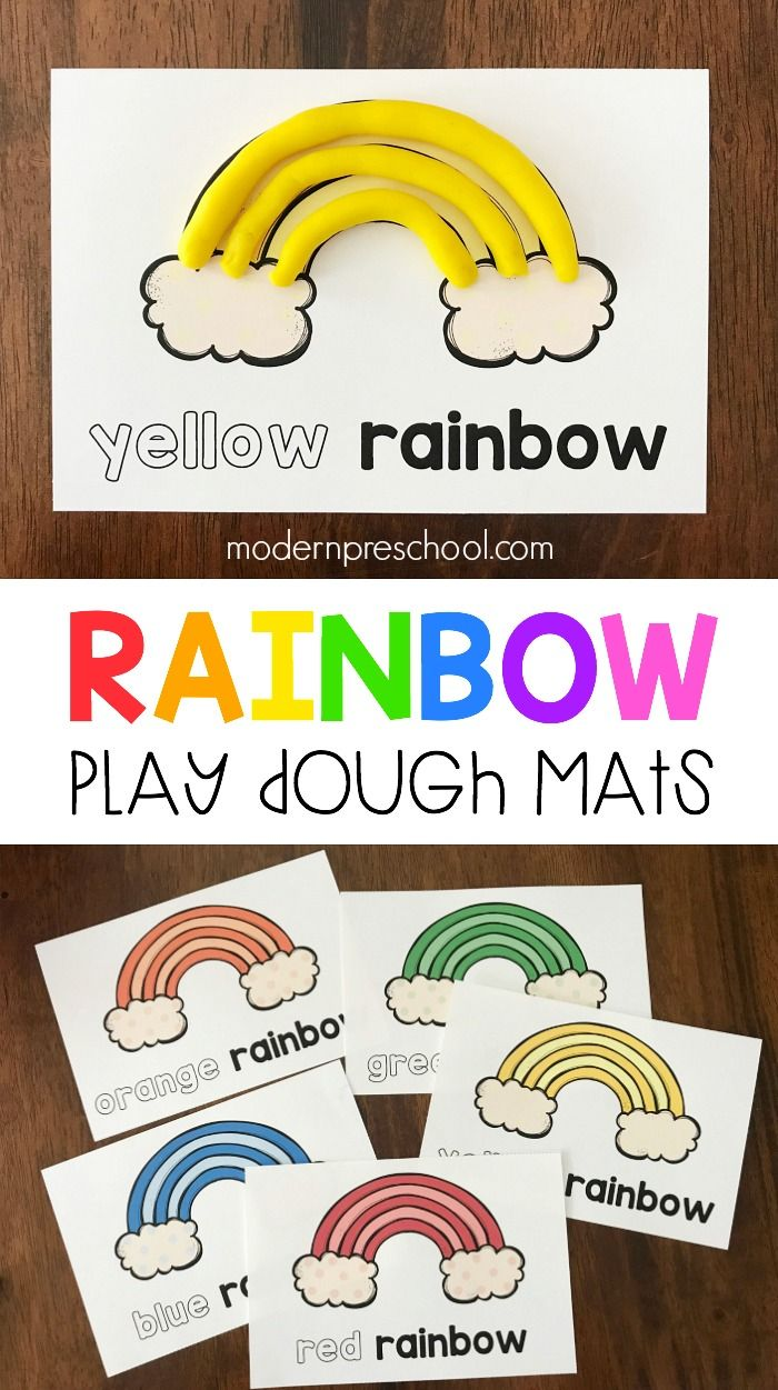 Rainbow Color Play Dough Mats is part of Preschool color theme, Preschool colors, Kindergarten colors, Playdough, Preschool fine motor, Playdough mats - FREE printable rainbow color play dough mats to practice color words, recognition, and fine motor skills in preschool during spring & St  Patrick's Day!
