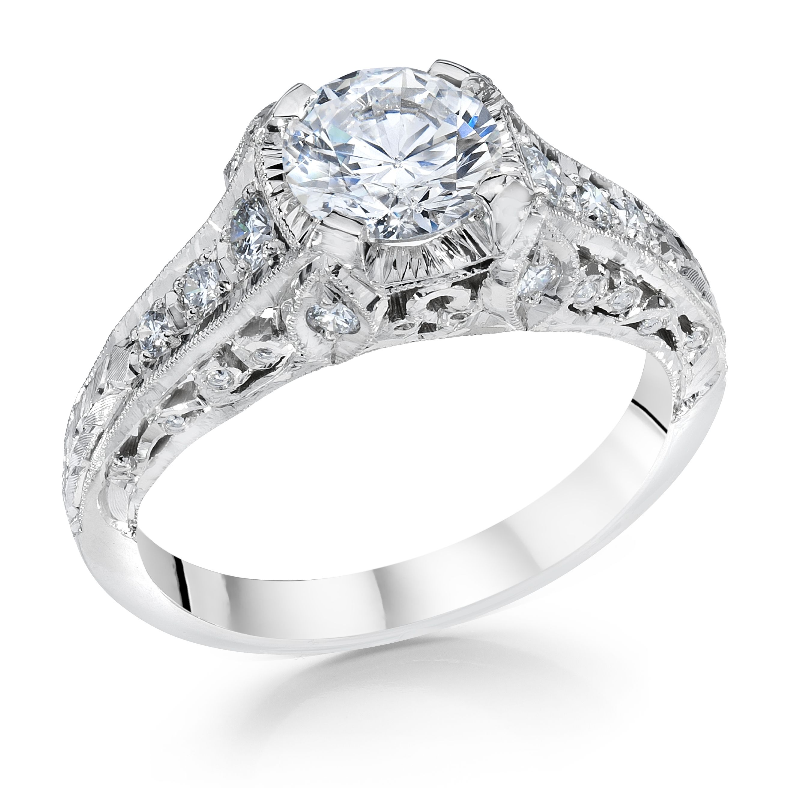 Whitehouse Brothers #8127 Antique Vintage Filligree Engagment Ring in Platinum