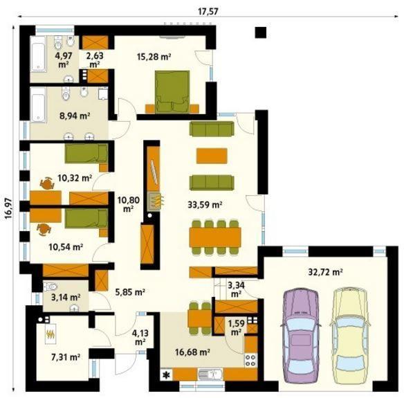 Hermoso dise o de casa de 170 metros cuadrados en una for Diseno de apartamentos de 45 metros cuadrados
