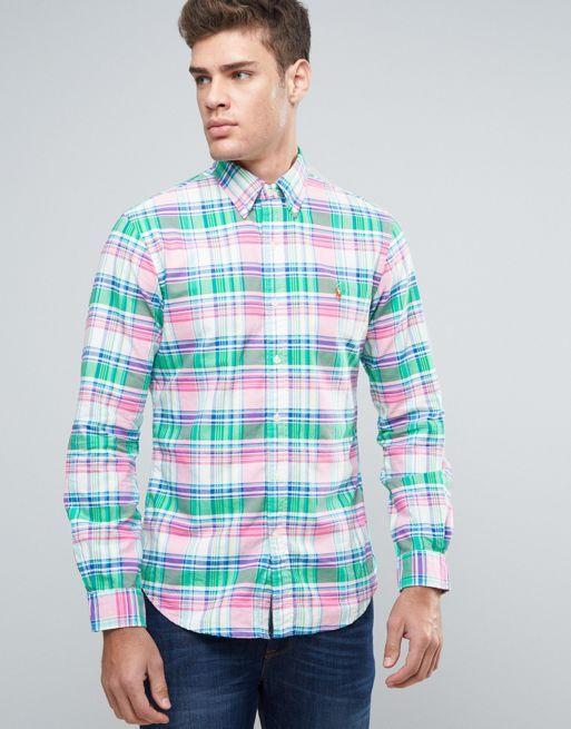 ralph lauren wallet, Polo ralph lauren check shirt slim fit buttondown  oxford green/pink