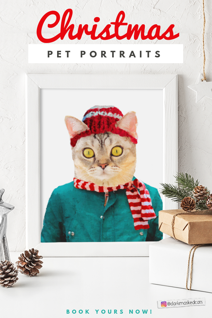 This Christmas Pet Portrait That Features Your Own Pet In Christmas Specific Clothes Is The Perfect Christmas Decor Cat Lover Gifts Christmas Animals Cat Gifts