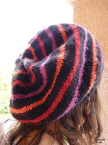 tricoter un bonnet a rayures