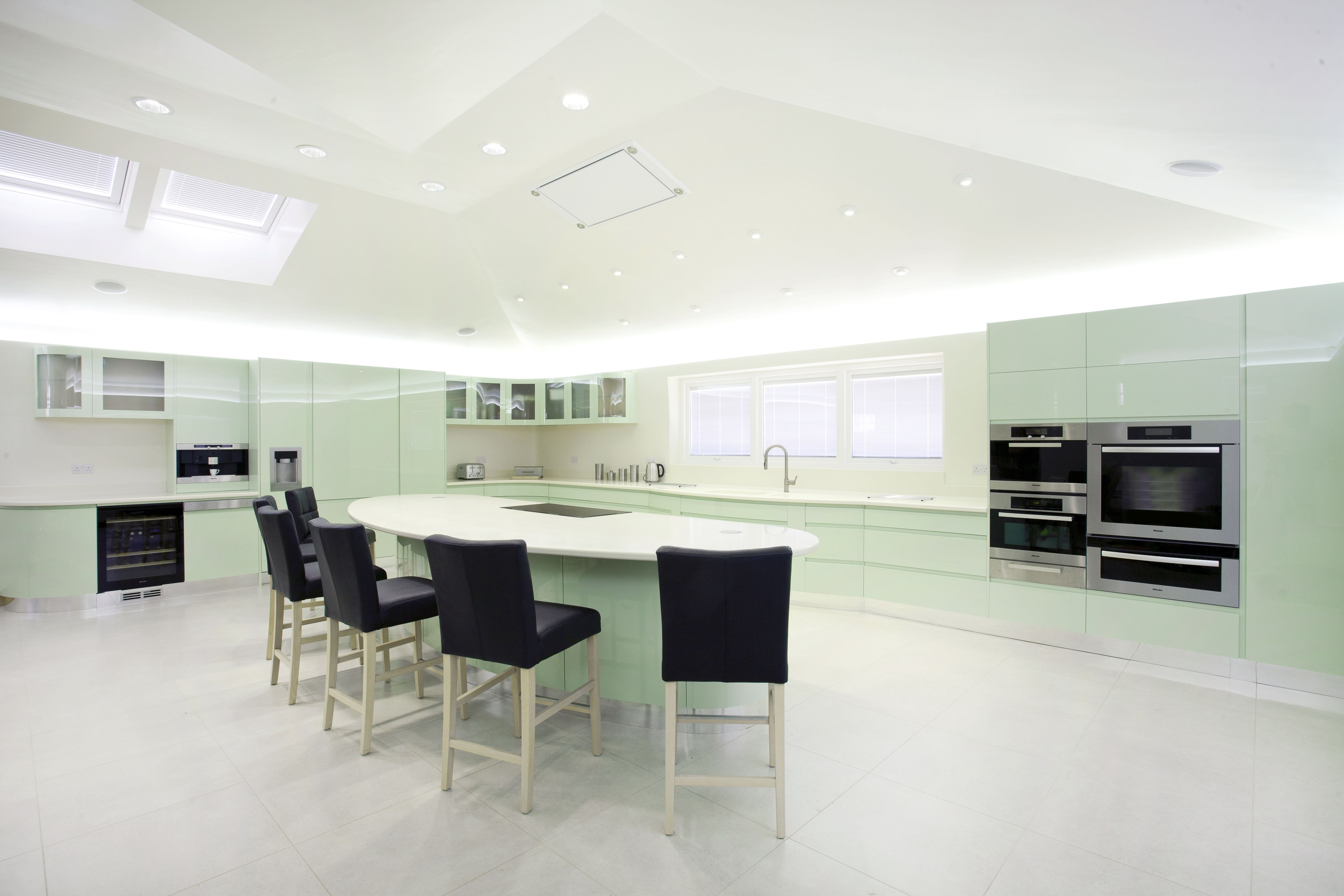 mint green parapan used to create this state of the art kitchen by osborne of ilkeston www