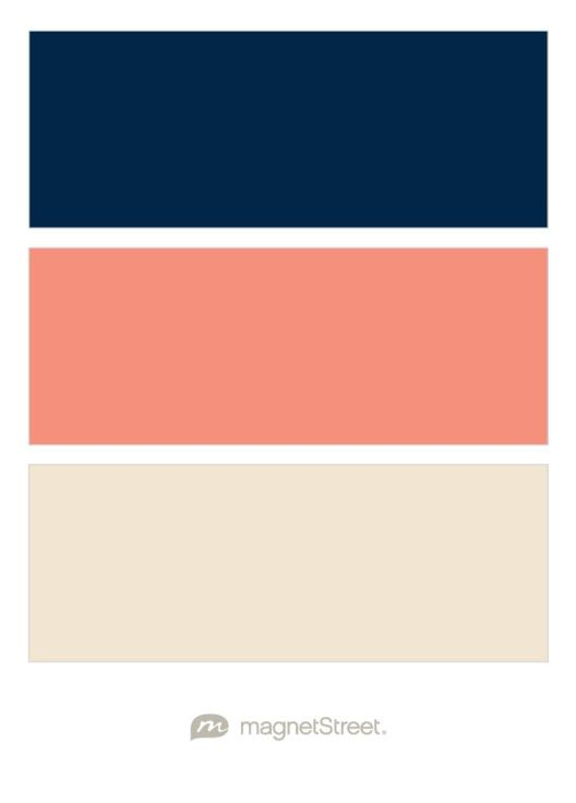 Navy Coral and Champagne Wedding Color Palette  custom