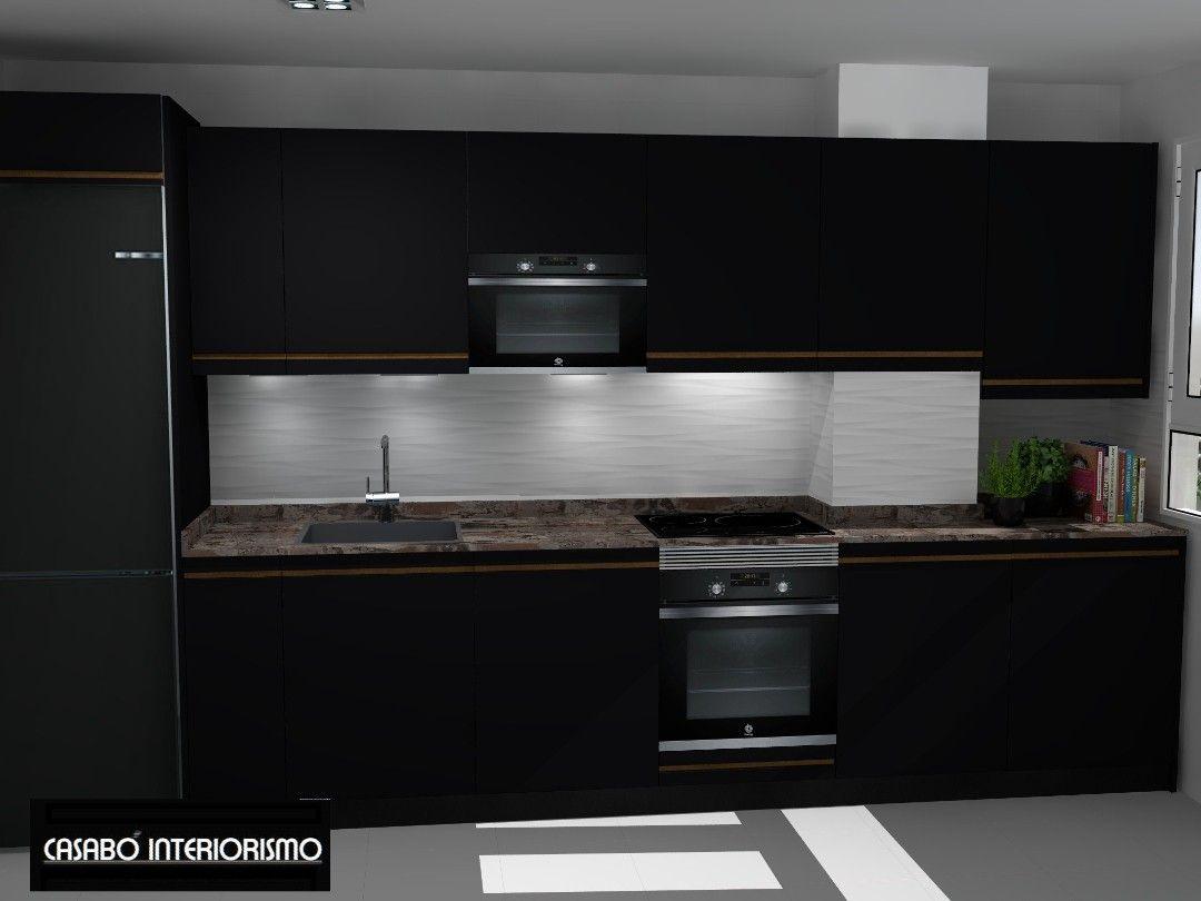 Cocina Pequena Y Negra Kitchen Home Decor Kitchen Cabinets