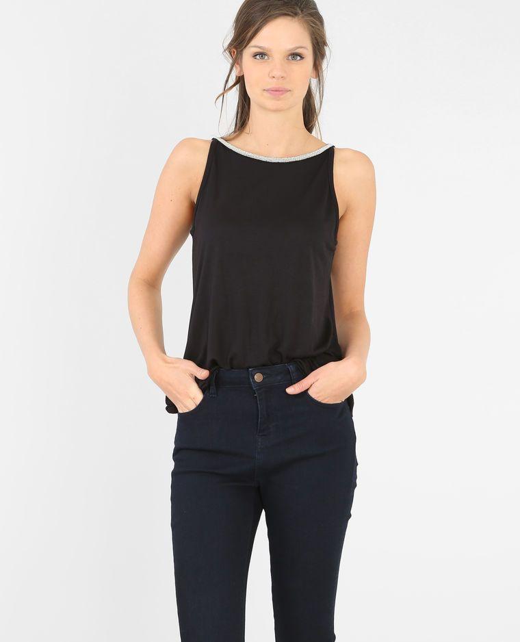 Pimkie: Camiseta de tirantes espalda de pico negro - Colección  Primavera/Verano 2016 - Las perlas finas plateadas de esta camiseta le  otorgan un estilo chic ...