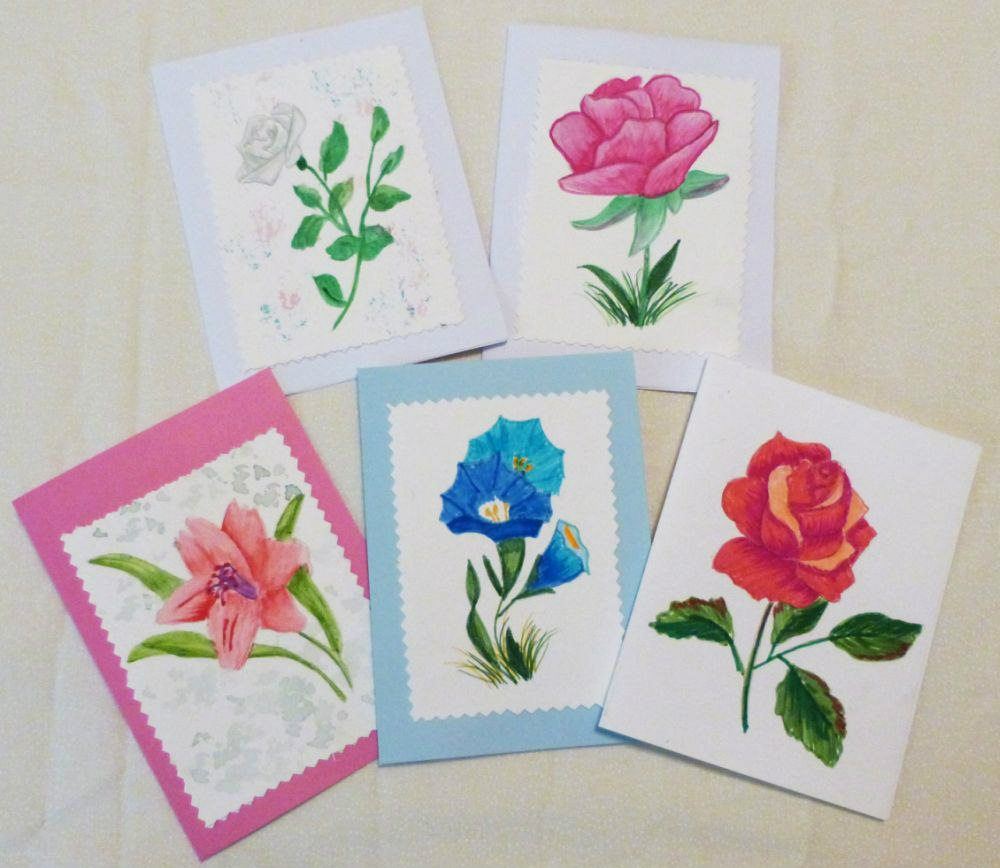 Hand Painted Greeting Cards Watercolor All Occasion Cards Set Of 5