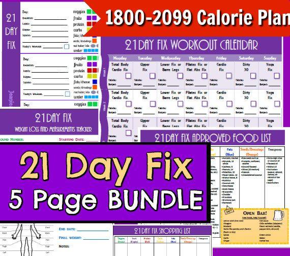 21 Day Fix Printables 1800-2099 5 Page PDF BUNDLE PACK ...