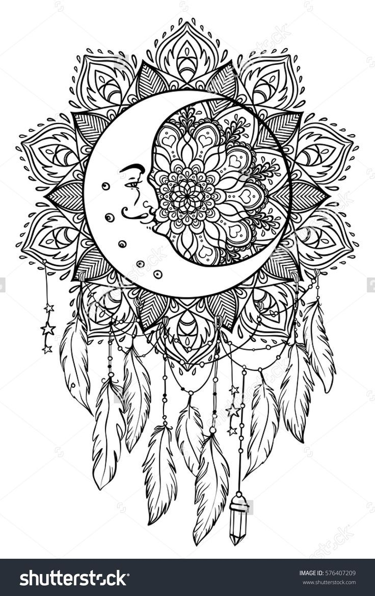 Native American Indian Talisman Dreamcatcher With Feathers Moon Coloring Page Moon Coloring Pages Dream Catcher Coloring Pages Mandala Coloring Pages