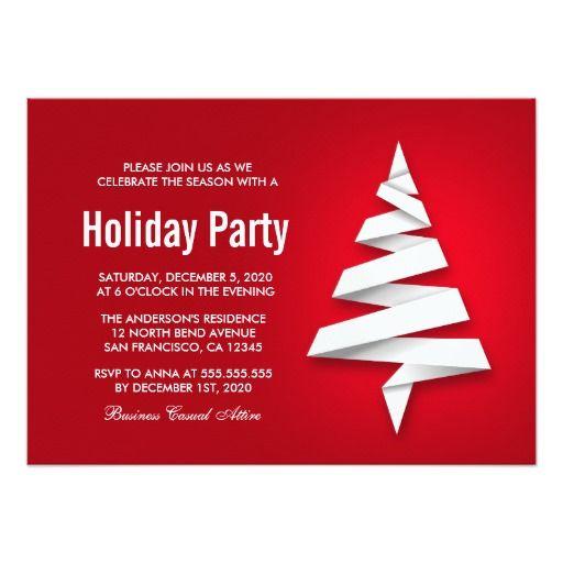 Creative Christmas Tree Holiday Party Invitations