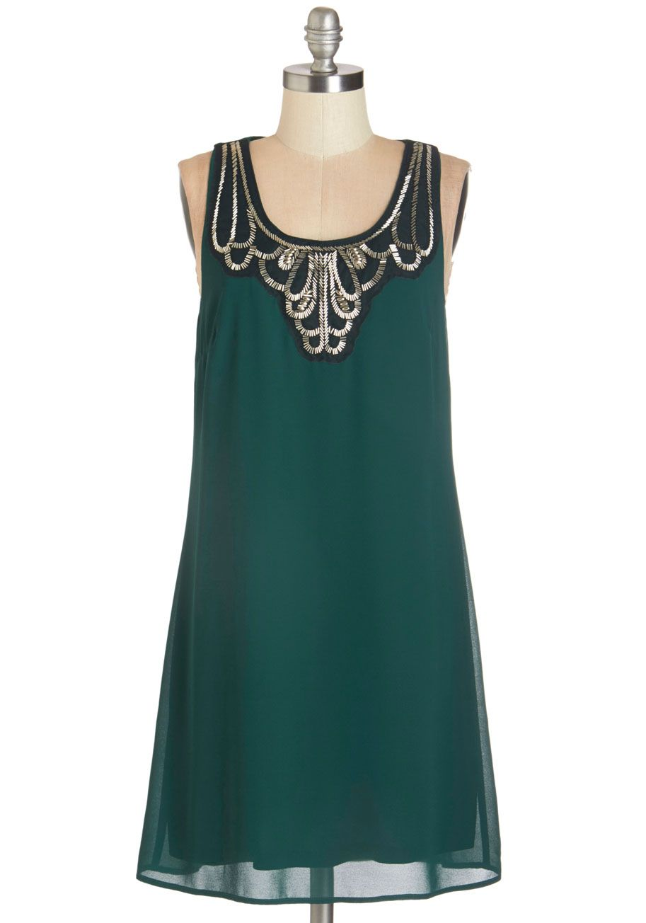 Idea on Arrival Dress - Woven, Green, Gold, Solid, Beads, Party ...