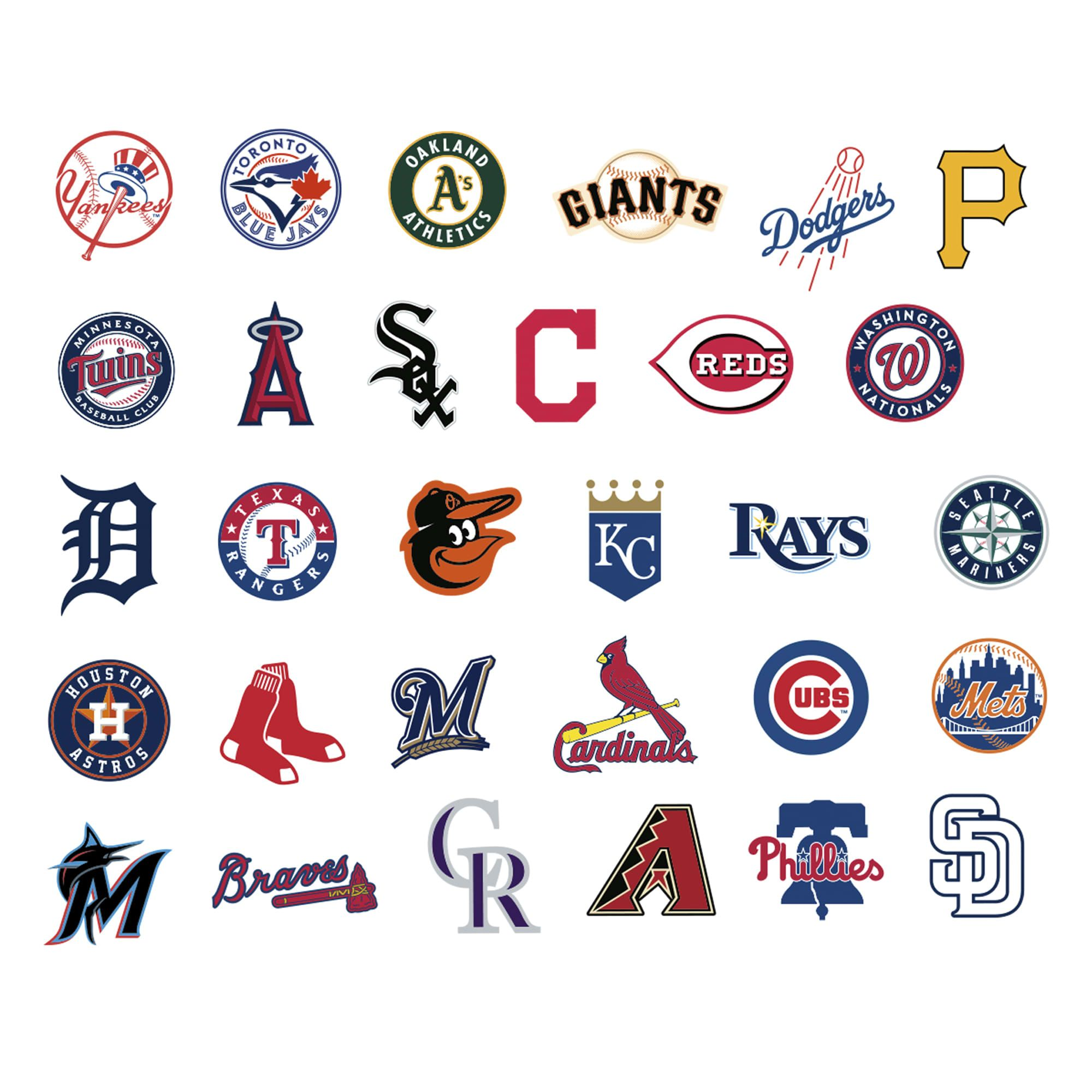 Mlb Team Logo Collection Large Officially Licensed Removable Wall Decals Logo Collection Mlb Team Logos Mlb