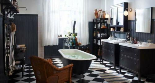 33 Dunkle Badezimmer Design Ideen   Bad Einrichtung Schwarz Weiß Möbel  Kontrast Modern Bathroom Minimalistic Look