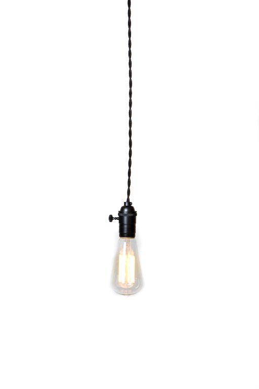 Simply Modern Bare Bulb Black Socket Pendant Light $45