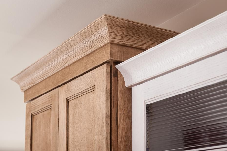 Schuler Wide Crown Molding Shown In Dalton Quartersawn Oak Cappuccino And Cottage Cabinets With Crown Molding Kitchen Cabinet Crown Molding Cove Crown Molding
