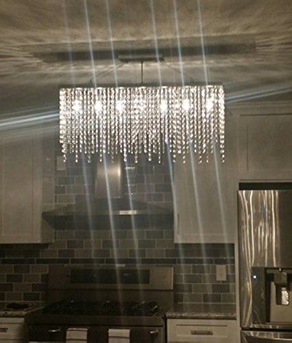 7PM Modern Linear Rectangular Island Dining Room Crystal Chandelier Lighting  Fixture     Amazon.com