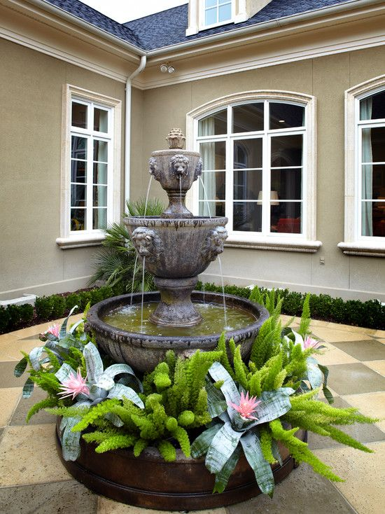 Colorful Atrium Fountain Plant Design Gallery Of