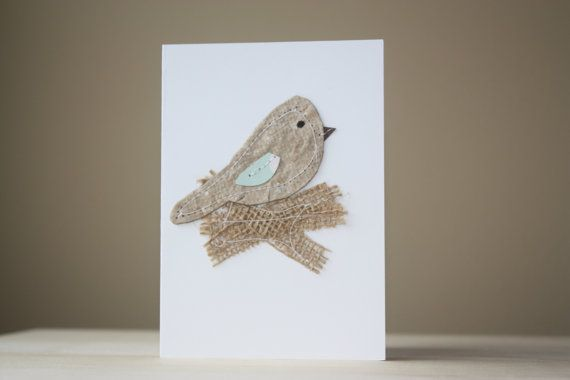 Bird on a nest Handmade card by JuniperandElmCardCo on Etsy